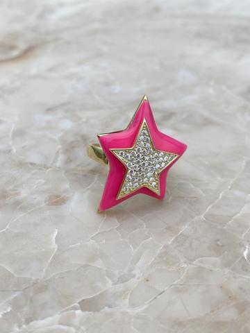 Кольцо Звезда из позолоченного серебра с розовой эмалью