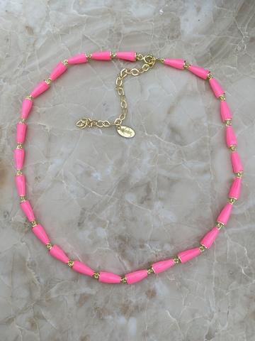 Колье Бонго розовое, позолота
