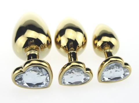 Пробка металл золото 7,5х2,8см с сердечком прозрачный 47446-MM