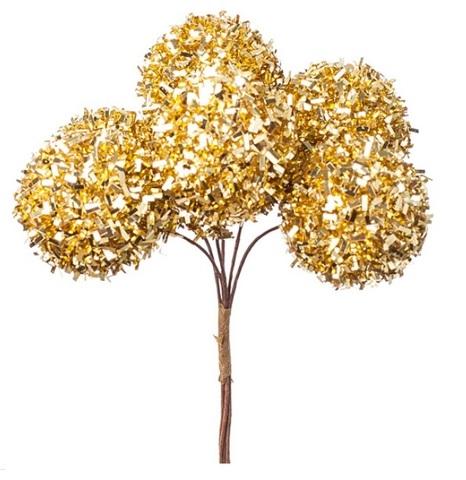 Набор шариков на вставках 6шт., размер: D3xH14см, цвет: золотой