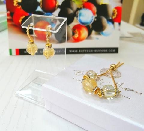 Комплект из браслета и серег со стразами Allegra Ca'D'oro Crystal Gold 004O