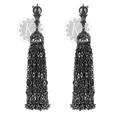 4655-Серьги из серебра в черном родии с густыми кисточками