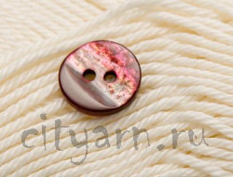 Пуговица перламутровая, круглая, в бордово-розовых тонах, диаметр 12 мм