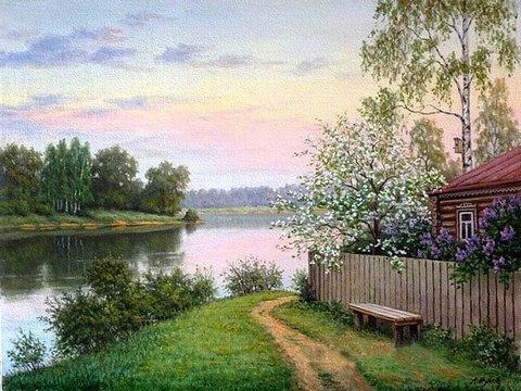 Картина раскраска по номерам 40x50 Деревенский пейзаж