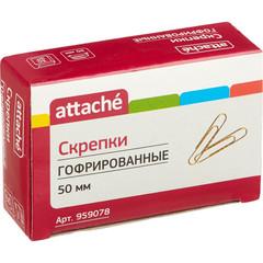 Скрепки Attache металлические гофрированные золотистые 50 мм (30 штук в упаковке)
