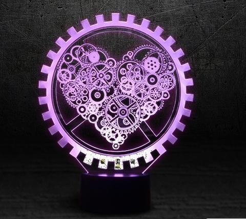 3D светильник Механическое Сердце — 3D light Mechanical Heart
