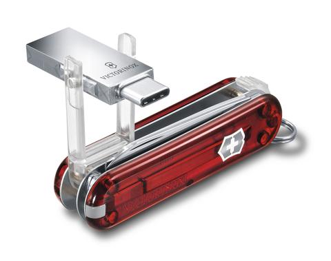 Нож-брелок Victorinox USB 16 Гб, 58 мм, 8 функций, полупрозрачный красный123
