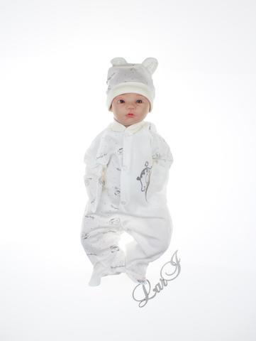 Человечек для новорожденных Baby + колпачок (кремовый/серый)