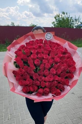 101 импортная роза в дизайнерской упаковке