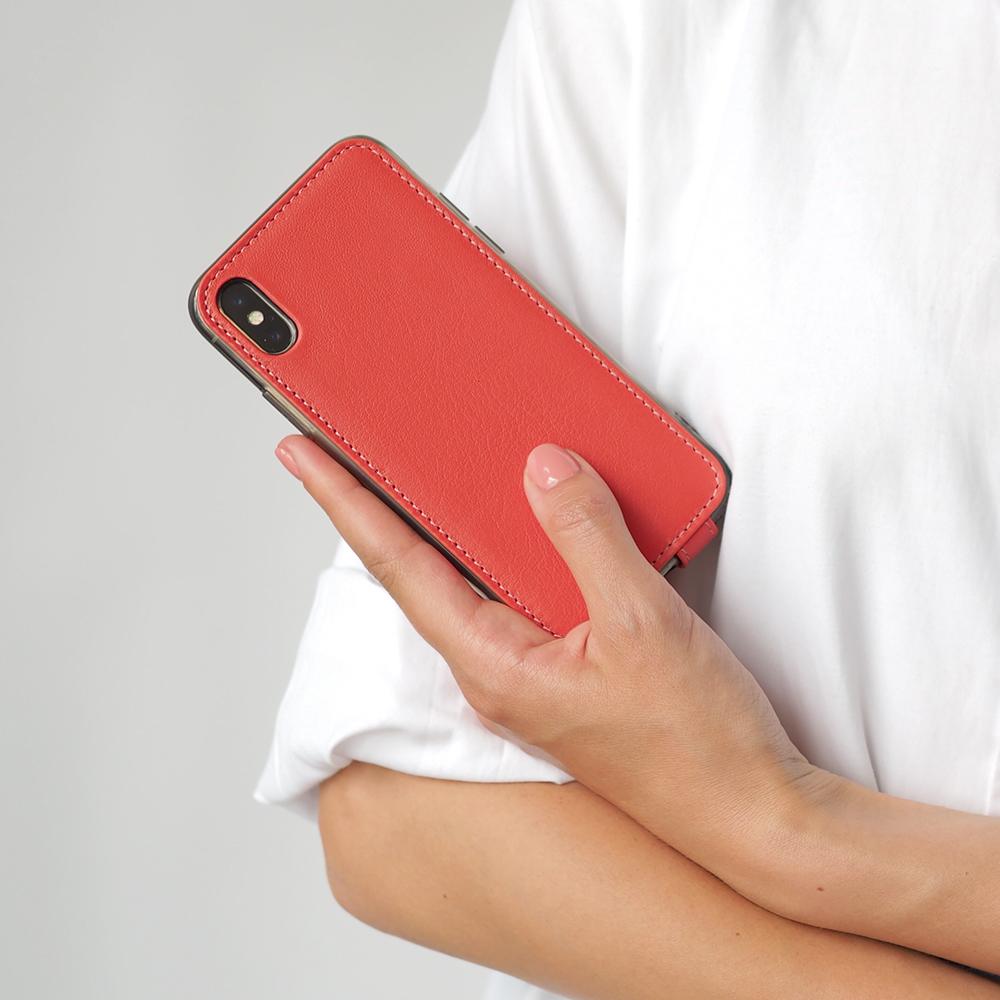 Чехол для iPhone X/XS из натуральной кожи теленка, кораллового цвета