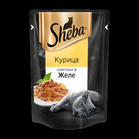 Sheba Консервы для кошек с курицей ломтики в желе (пауч)