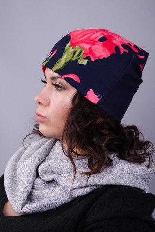 Фэшн. Молодёжные женские шапки. Синий цветок.