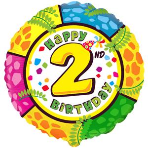 Фольгированный шар С днем рождения Цифра 2 18