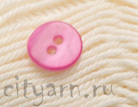 Пуговица перламутровая, круглая, ярко-розовая, диаметр 12 мм