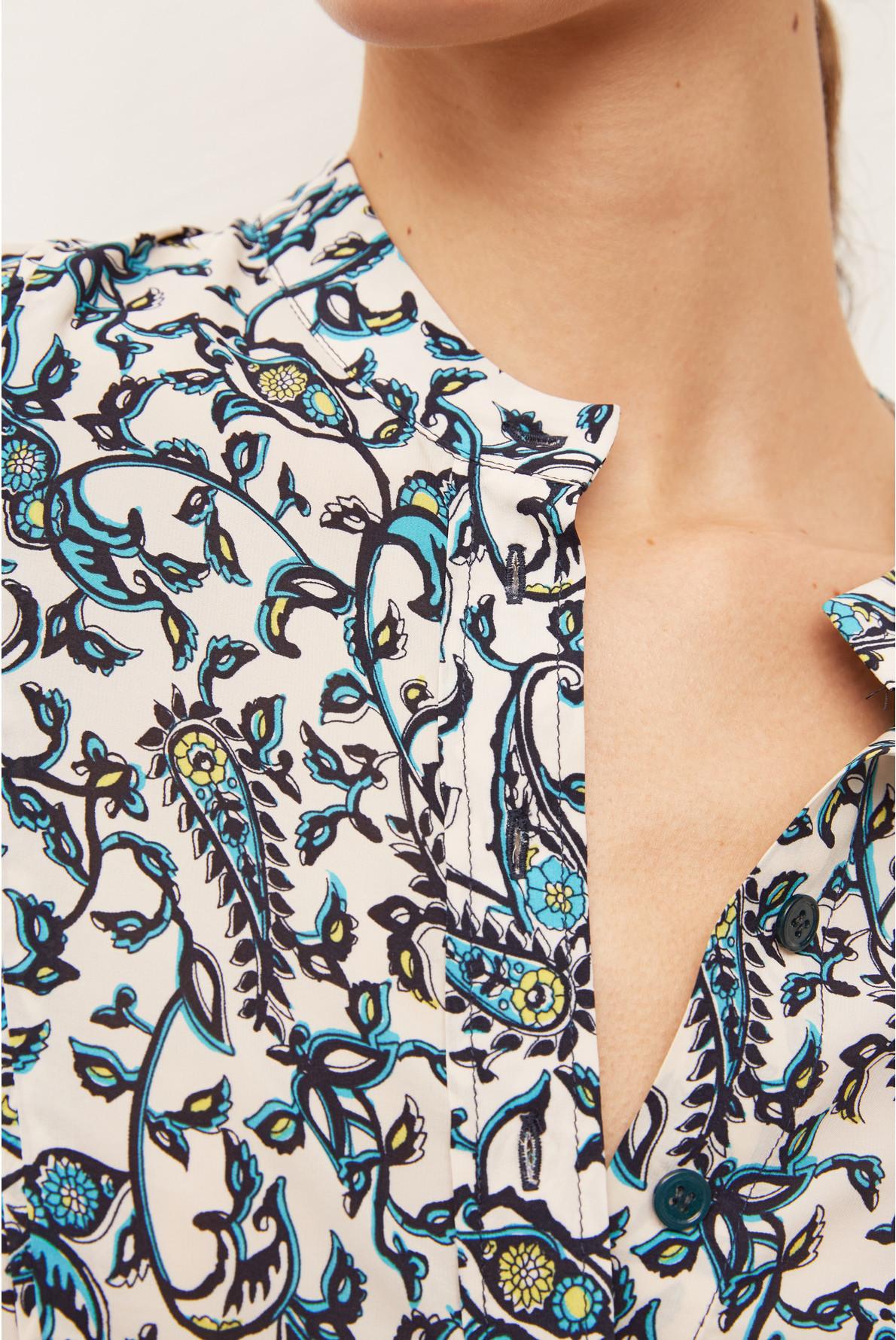 SHAILY - Короткое шелковое платье-рубашка с принтом