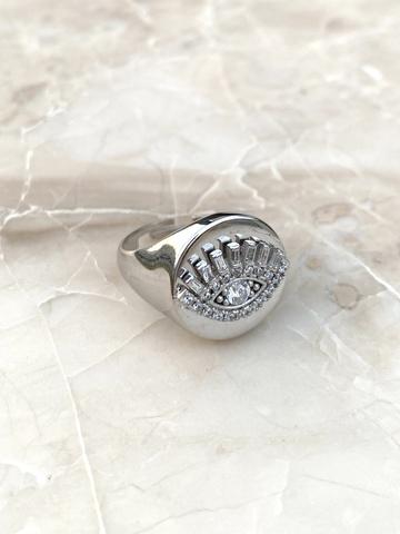 Кольцо-печатка Глаз из серебра