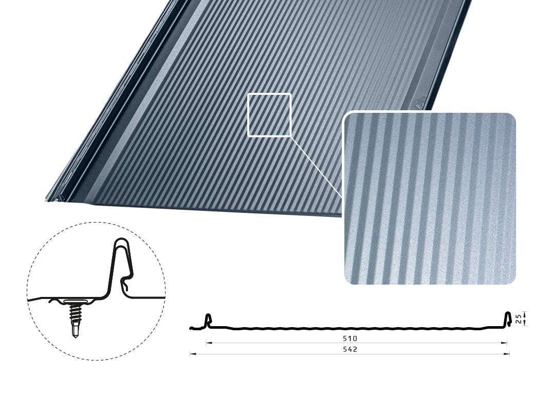 Фальцевая панель Iron Click низкие микроволны