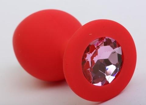 Пробка силиконовая красная с розовым стразом 8,2х3,5см 47403-1MM