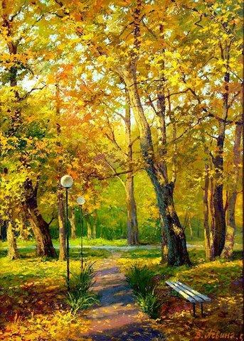 Картина раскраска по номерам 40x50 Скамейка в парке