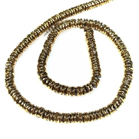 Бусины гематит рондель 6 х 1,7 мм золотой 1 штука