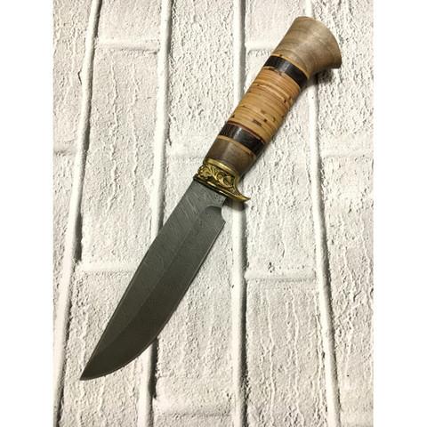 Нож для охоты и рыбалки АНЧАР-1, дамасская сталь, береста