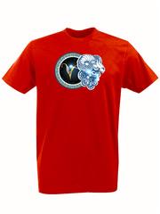 Футболка с принтом Знаки Зодиака, Овен (Гороскоп, horoscope) красная 005