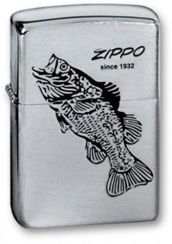 Зажигалка Zippo  (200 Black Bass) Black Bass с покрытием Brushed Chrome латунь/сталь серебристая матовая 36х12х56