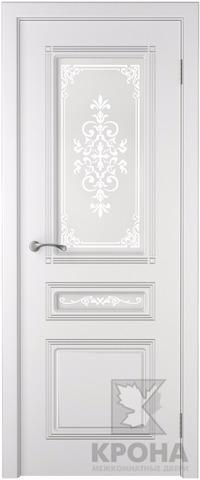 Дверь Крона Стиль, стекло матовое с рисунком, цвет белая эмаль, остекленная