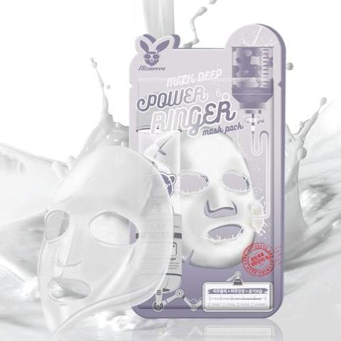 Осветляющая тканевая маска для лица с молочными протеинами Elizavecca Milk Deep Power Ringer Mask Pack