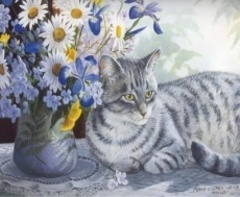 Картина раскраска по номерам 30x40 Кошка у букета