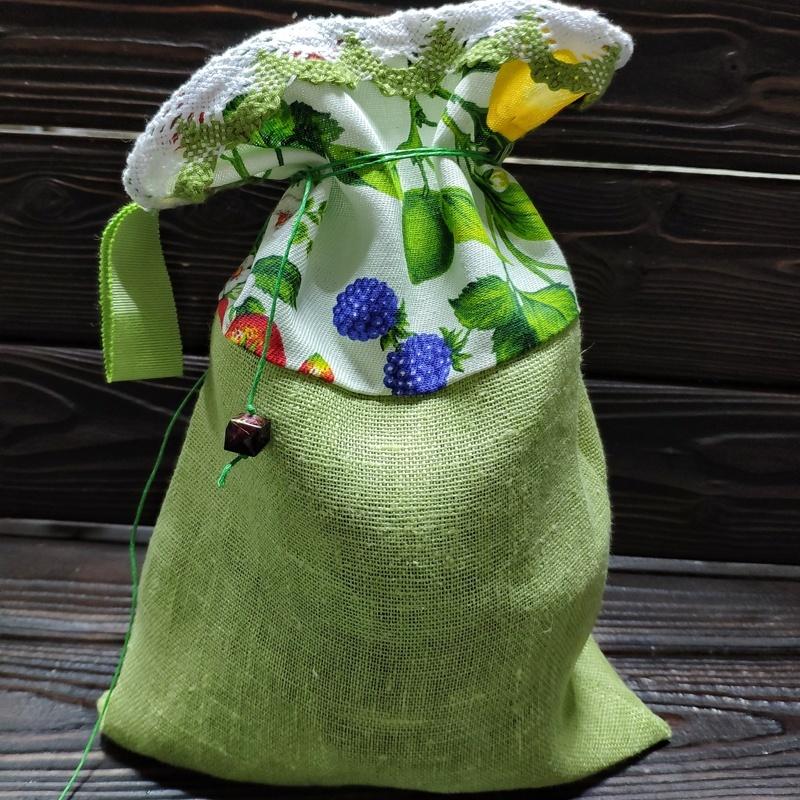 Фотография Мешочек из льна с хвостиком Фисташка с ягодами купить в магазине Афлора