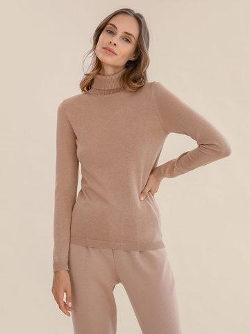 Женский свитер бежевого цвета из шерсти и шелка - фото 2