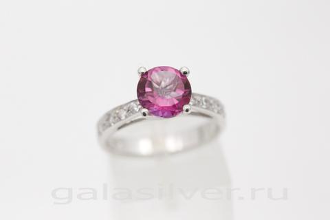 Кольцо с розовым топазом и цирконом из серебра 925