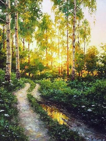Картина раскраска по номерам 40x50 Наступление рассвета в лесу