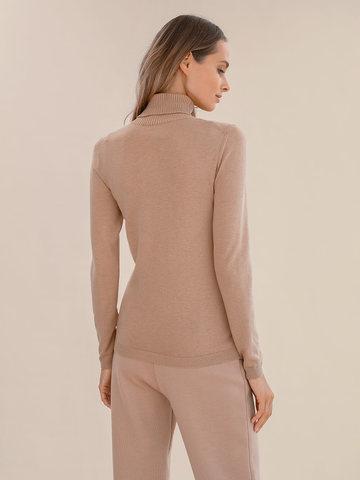 Женский свитер бежевого цвета из шерсти и шелка - фото 4