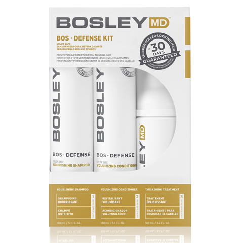 Bosley MD Defense Желтая линия: Система для  предотвращения истончения и выпадения волос (BosDefense Color Safe Starter Pack), 150мл*2+ 100мл