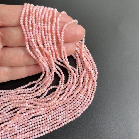 Бусины розовый опал А граненый 2,2 мм цена за 170 бусин (~38 см)