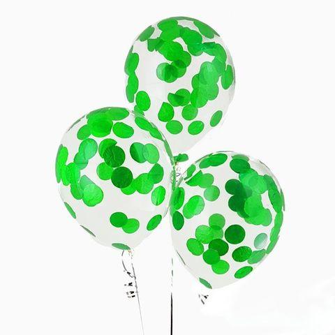Воздушные шары с зеленым конфетти