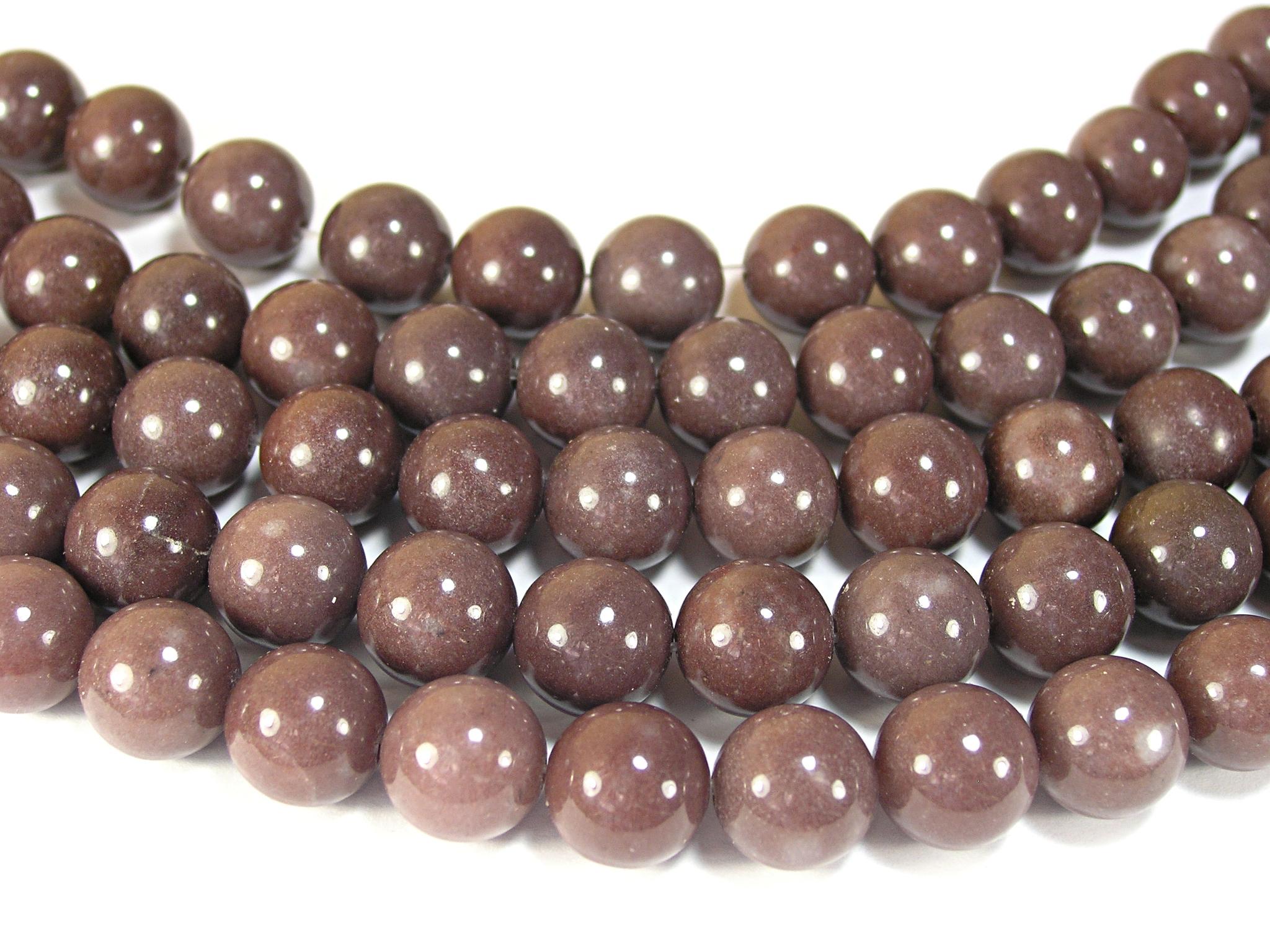 Нити бусин из авантюрина пурпурного, шар гладкий 12мм (оптом)