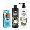 Шампунь для нормального волосся + Бальзам для сухого, ослабленого волосся Кокос-Пшеничні протеїни + Концентрована есенція для волосся Кокос-Гіалурон (1)