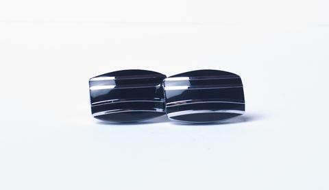 Запонки La madre белого металла прямоугольные черные полоски
