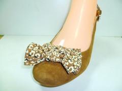 Замшевые туфли босоножки с закрытым носком. Коричневые туфли босоножки с бантом Welfare - Brown.