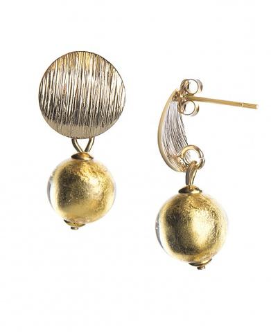 Серьги тренд металлические вставки золотые бусины