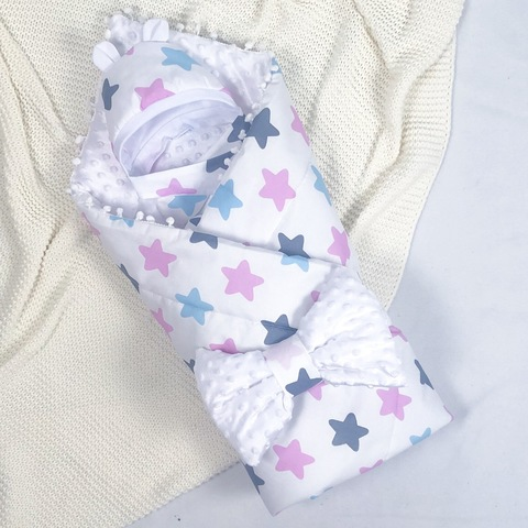 СуперМамкет. Конверт-одеяло с бантом и шапочкой Звезды, голубой/розовый/белый
