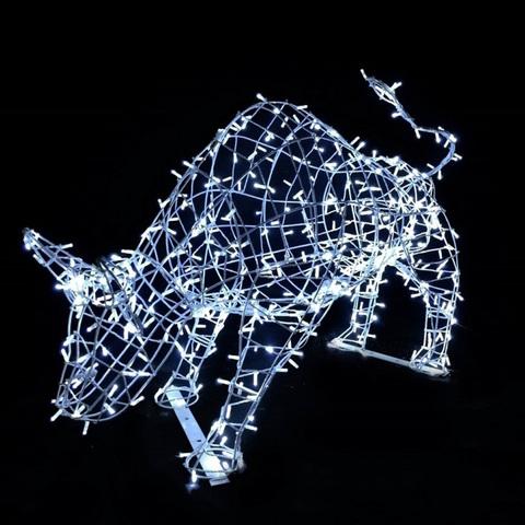 Новогоднее украшение световая фигура с освещением  бык - символ 2021 года