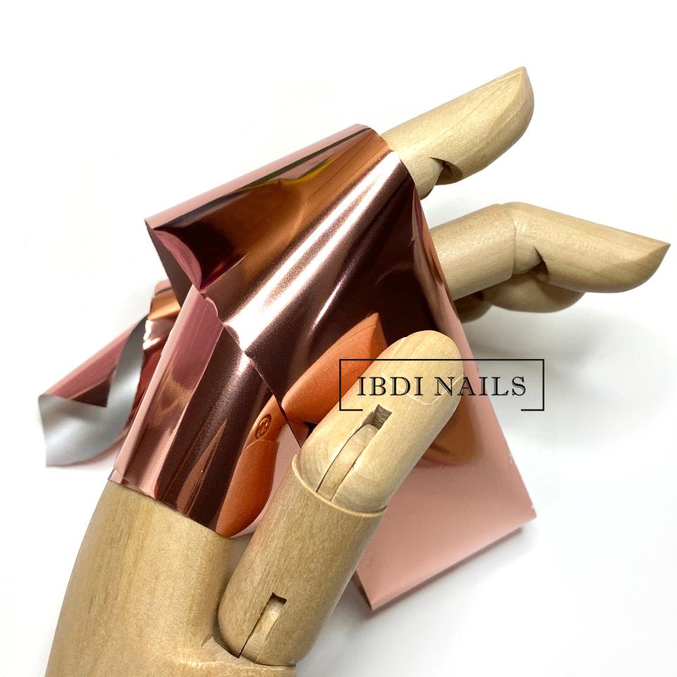 Фольга для дизайна ногтей (золото розовое)