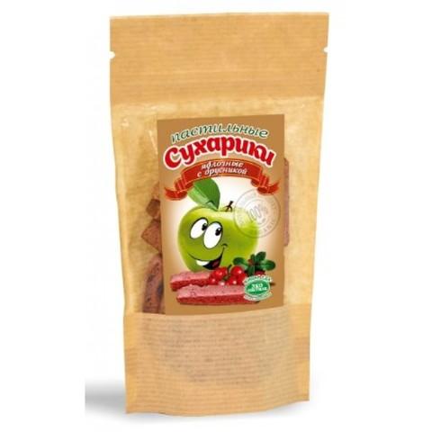 Сухарики пастильные яблочные с вишней, 60 гр. (Эко пастила)