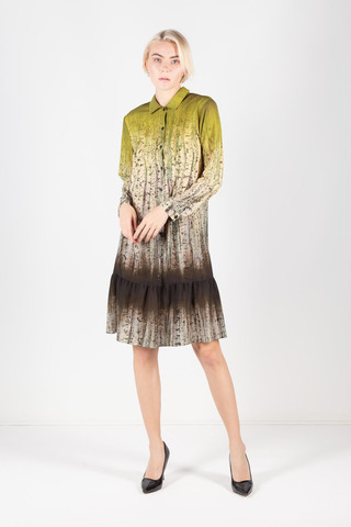 Фото модное платье-рубашка с необычным принтом, поясом и воланом по низу - Платье З328-171 (1)