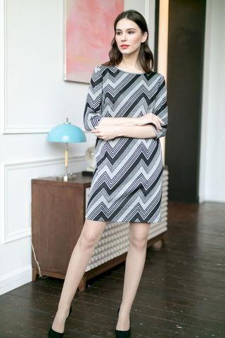 Фото двухцветное платье с геометрическим принтом - Платье З474-039 (1)