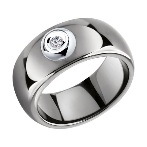 6015075 - Кольцо из белого золота с бриллиантом и керамическими вставками